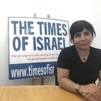 הבלוגרית האיראנית נדא אמין במערכת האתר בירושלים (צילום: Tamar Pileggi)