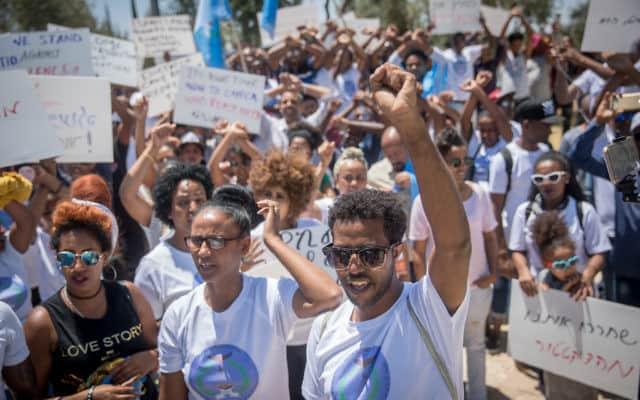 הפגנה של מבקשי מקלט מאריתראה בירושלים (צילום: Yonatan Sindel/Flash90)