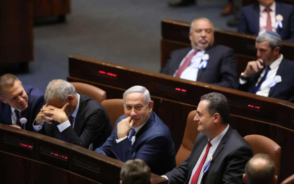 ראש הממשלה בנימין נתניהו בעת טקס השבעת הכנסת ה-21 (צילום: נועם רבקין פנטון. פלאש 90)