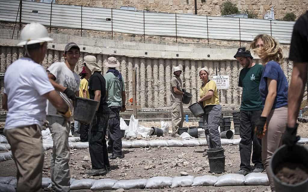 """חפירה ארכיאולוגית ב""""עיר דוד"""" במזרח ירושלים (צילום: אורי לנץ / פלאש 90)"""