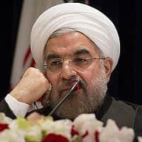 נשיא איראן חסן רוחאני (צילום: דון מינצ'ילו AP)