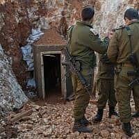חשיפת המנהרה שנחפרה ממרחב הכפר רמיה (צילום: דובר צה״ל)