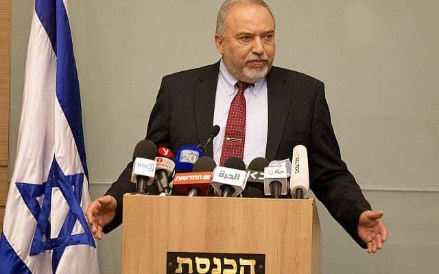 אביגדור ליברמן מתפטר מהממשלה, ב-14 בנובמבר 2018 (צילום: AP Photo/Ariel Schalit)
