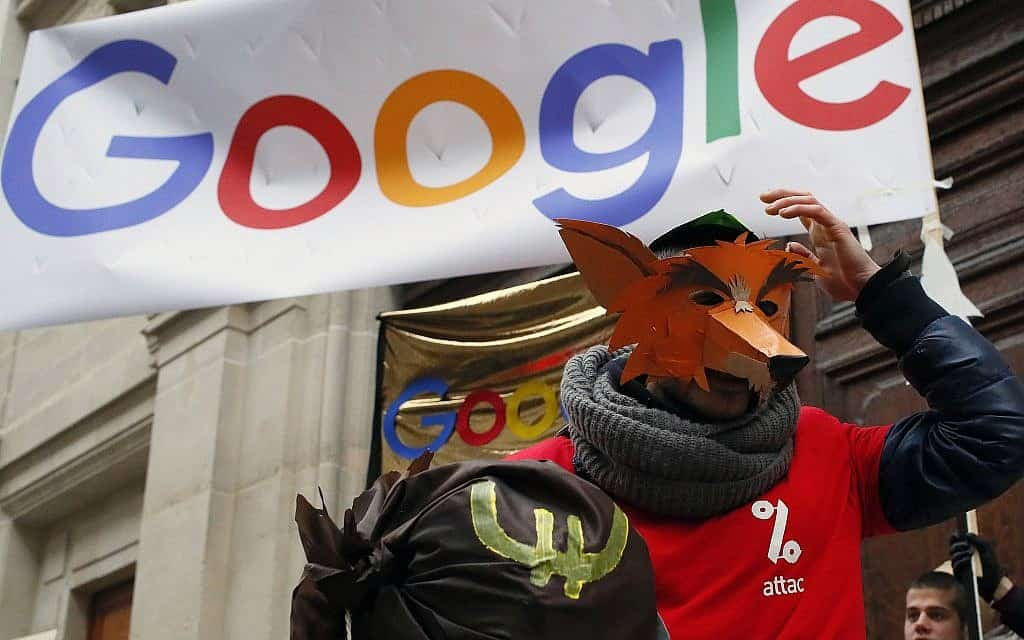 מחאה נגד גוגל בצרפת (צילום: AP Photo/Francois Mori)