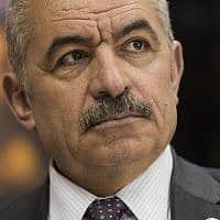 מוחמד אשתייה, ראש הממשלה של הרשות הפלסטינית (צילום: AP. Nasser Nasser)