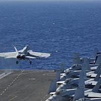 נושאת מטוסים אמריקנית (צילום: Amber Smalley us navy by AP)