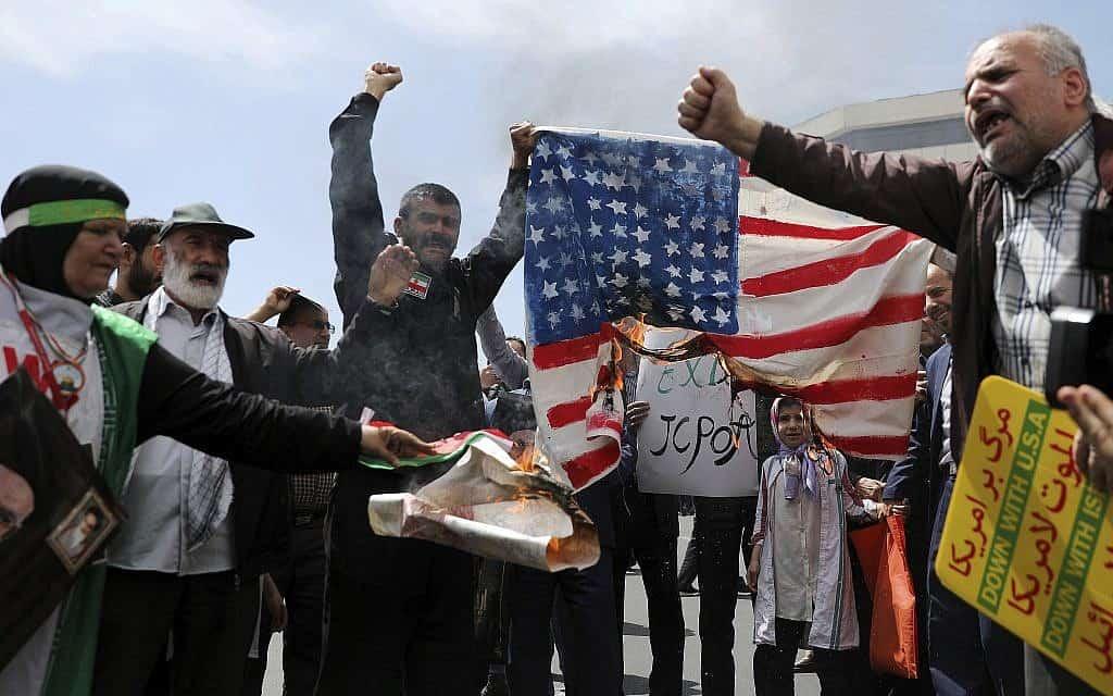 """הפגנה נגד טראמפ וארה""""ב באיראן, מאי 2019 (צילום: AP Photo/Ebrahim Noroozi)"""