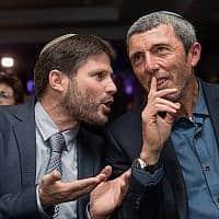 רפי פרץ ובצלאל סמוטריץ׳ מאיחוד מפלגות הימין, ב-11 במרץ 2019 (צילום: יונתן סינדל/פלאש90)