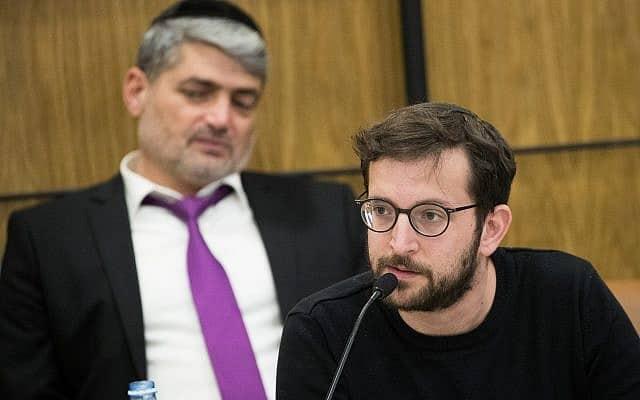 דובר הליכוד יונתן אוריך בדיון על הבוטים בכנסת (צילום: Yonatan Sindel/Flash90)