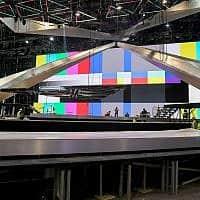 ההכנות לבמה המרכזית של האירוויזיון בגני התערוכה בתל אביב (צילום: תומר נויברג/פלאש90)