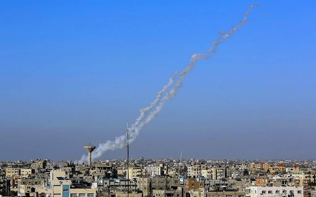 ירי רקטות מרצועת עזה, ה-4 במאי 2019 (צילום: Rahim Khatib/Flash90)