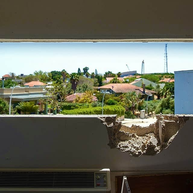חדר בבית שנפגע בישוב נתיב העשרה, 4 במאי 2019