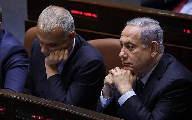 בנימין נתניהו ומשה כחלון במליאת הכנסת, ב-20 במאי 2019 (צילום: נועם רבקין פנטון/פלאש90)