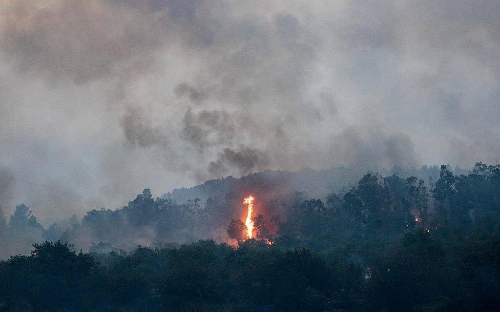 לוחמי אש  ליד קיבוץ הראל (צילום: Yonatan Sindel/Flash90)