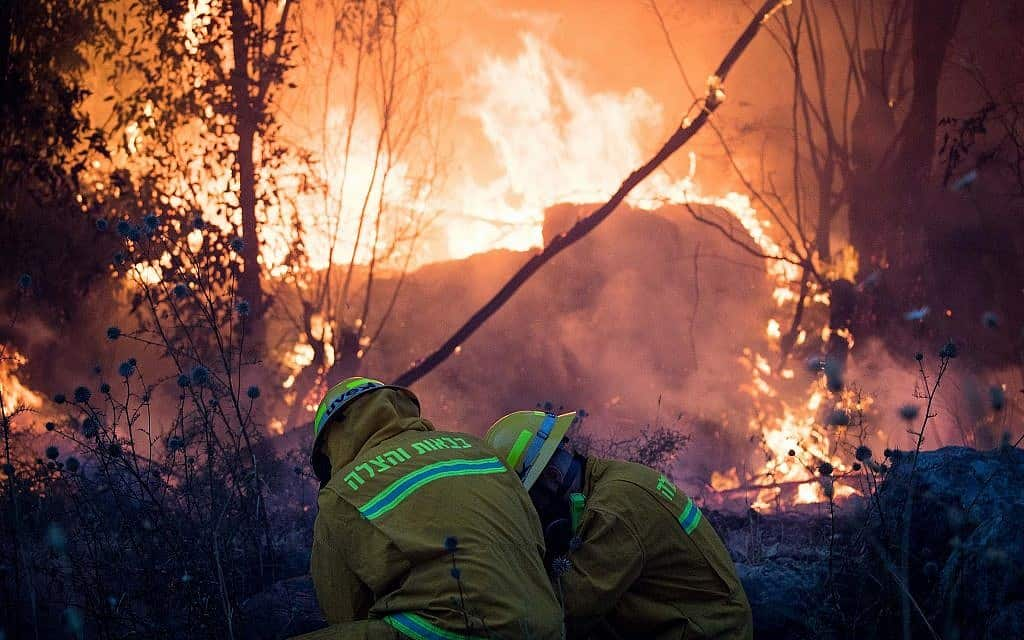לוחמי אש בקיבוץ הראל (צילום: Yonatan Sindel/Flash90)
