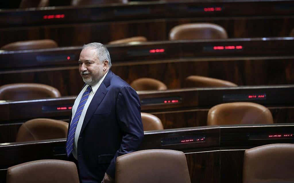 אביגדור ליברמן במליאת הכנסת לפני ההצבעה על פיזור הכנסת ה-21 (צילום: נועם רבקין פנטון/פלאש90)