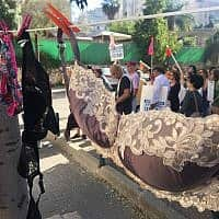 מפגינים מתחת לביתו של נתן אשל תלו חזיות ותחתונים (צילום: אמיר בן-דוד/זמן ישראל)