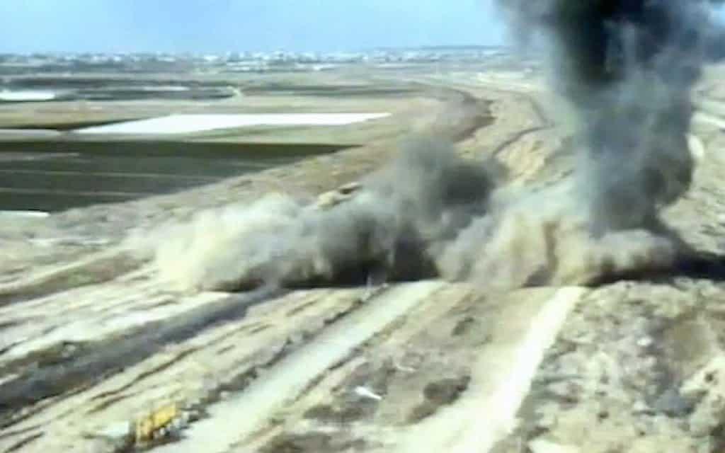 השמדת מנהרת הג׳יהאד האיסלאמי היום (צילום: דובר צה״ל)