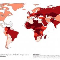 מפת התפשטות החצבת בעולם על פי ארגון הבריאות העולמי (צילום: מקור: ארגון הבריאות העולמי)