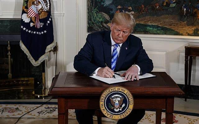 דונלד טראמפ מבטל את הסכם הגרעין עם איראן, מאי 2018 (צילום: AP Photo/Evan Vucci)