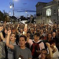 הפגנות בפולין (צילום: AP Photo/Alik Keplicz)
