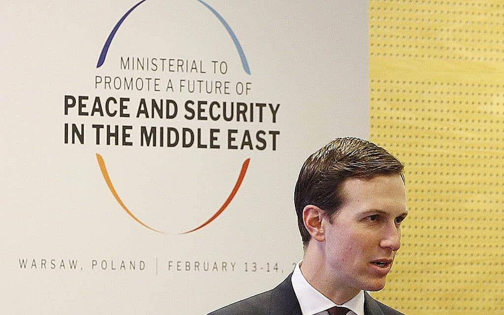 ג׳ראד קושנה בכנס בוורשה, פולין, בפברואר 2019 (צילום: AP Photo/Czarek Sokolowski)