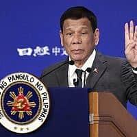 נשיא הפיליפינים רודריגו דוטרטה נושא נאום בכנס על עתיד אסיה, ב-31 במאי 2019 (צילום: AP Photo/Eugene Hoshiko)