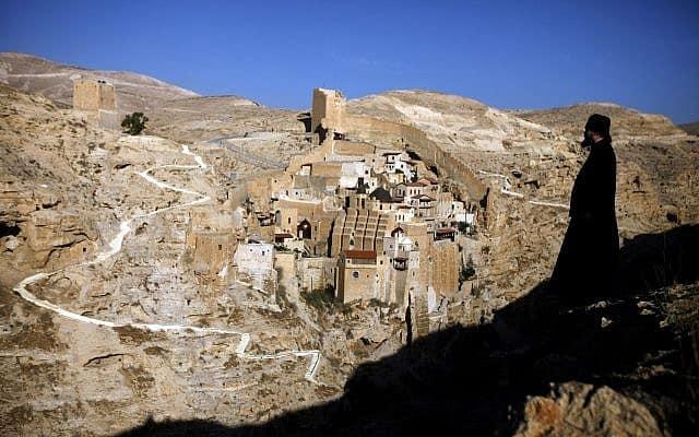 מנזר מרסבא שעל נחל קדרון (צילום: Abir Sultan/Flash90)