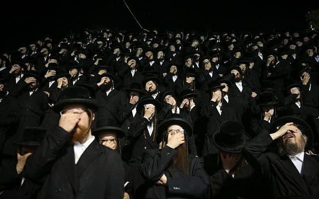 חרדים בהר מירון, ל״ג בעומר 2019 (צילום: דויד כהן/פלאש90)