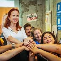 סתיו שפיר במטה הבחירות שלה בתל אביב, יום לפני הבחירות לראשות העבודה, 1 ביולי 2019 (צילום: פלאש 90)