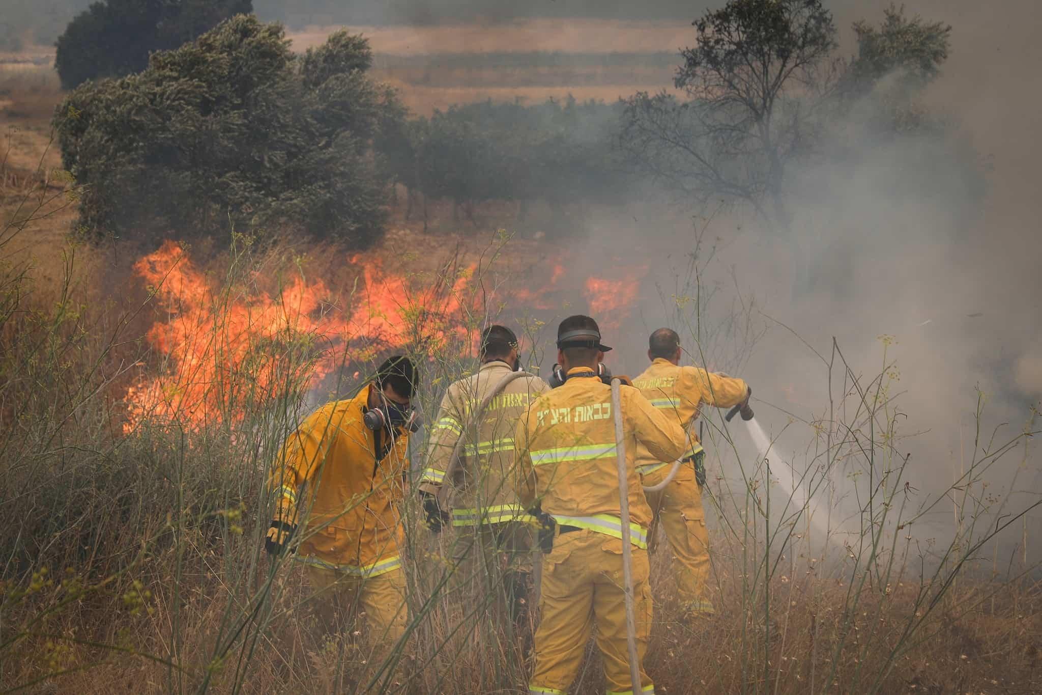 שריפה ליד מושב אדרת (צילום: נועם רבקין, פלאש 90)