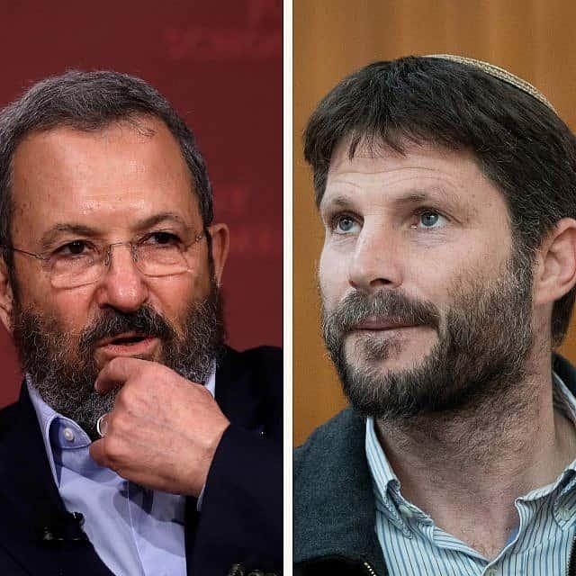 בצלאל סמוטריץ׳, אהוד ברק (צילום: AP Photo/Charles Krupa, Yonatan Sindel/Flash90)