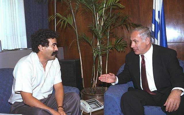 ראש הממשלה בנימין נתניהו נפגש עם יו״ר ההסתדרות עמיר פרץ ב-2 ביולי 1996 (צילום: משה מילנר/לע״מ)