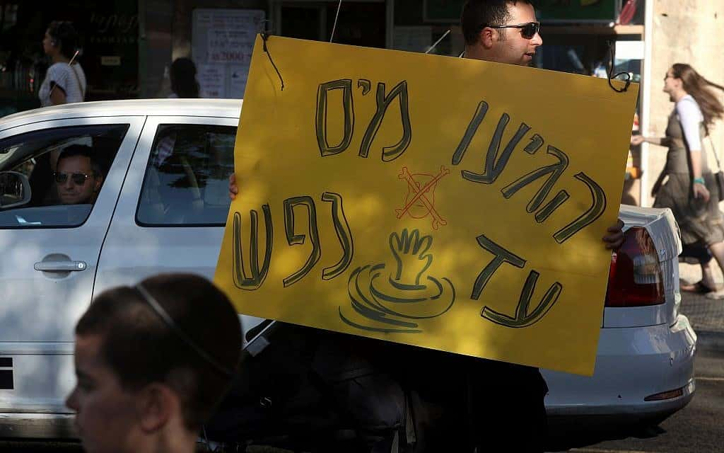 מחאה נגד ייקור המים, 2011 (צילום: Kobi Gideon/ Flash90)