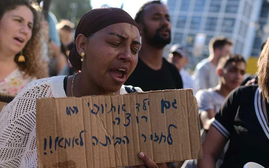 מחאת יוצאי אתיופיה בעקבות הריגתו של סלמון טקה (צילום: תומר נויברג/פלאש90)