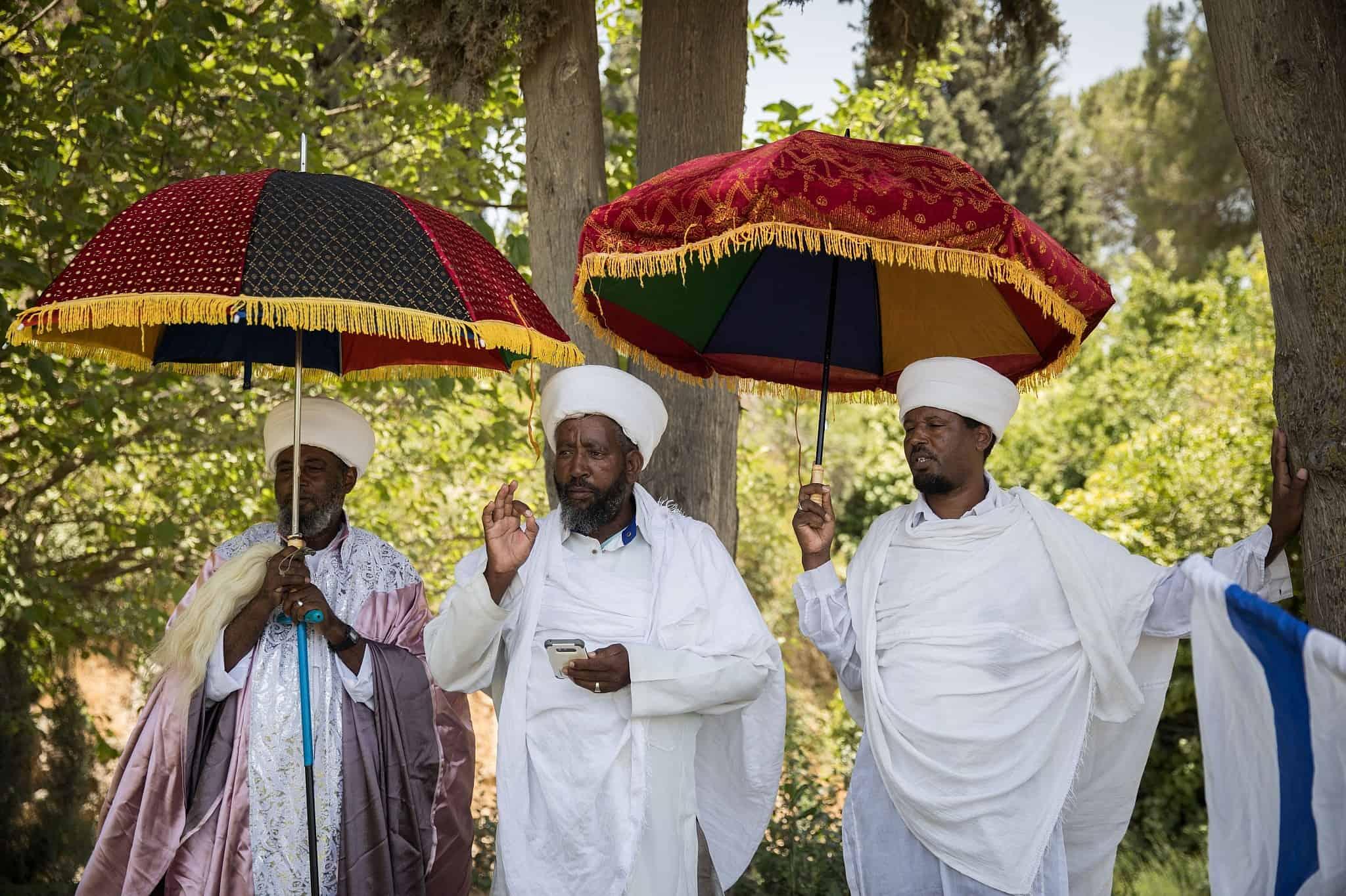 יוצאי אתיופיה מפגינים מול משרד ראש הממשלה במחאה על הירי בסלומון טקה, תושב קרית חיים (צילום: הדס פרוש פלאש 90)
