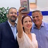 ניצן הורוביץ, אהוד ברק וסתיו שפיר בעת ההחלטה על איחוד ביניהם (צילום: דוברות מרצ)
