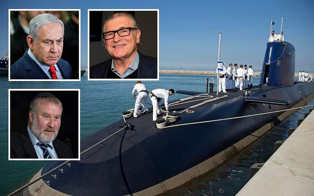 פרשת הצוללות – נתן מיליקובסקי, בנימין נתניהו ואביחי מנדלבליט (צילום: AP Photo/Ariel Schalit/Flash90)