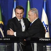 בנימין נתניהו וז׳איר בולסונארו בעת ביקור נשיא ברזיל בירושלים, ב-31 במרץ 2019 (צילום: Debbie Hill/Pool via AP)