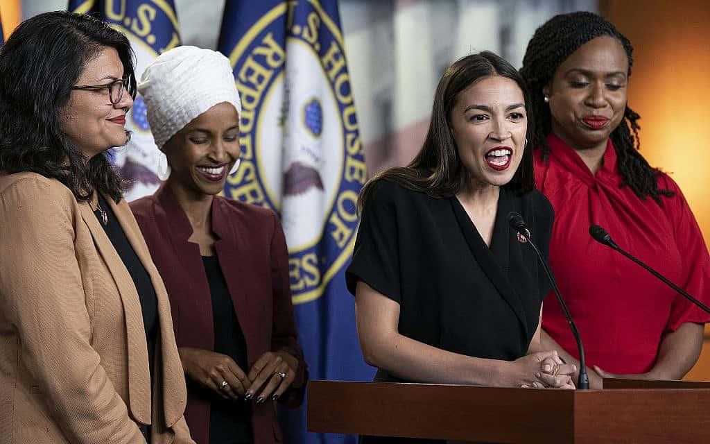 ״היחידה״ (משמאל): רשידה טליב, אילהאן עומאר, אלכסנדרה אוקסיו-קורטז ואייאנה פרסלי (צילום: AP Photo/J. Scott Applewhite)