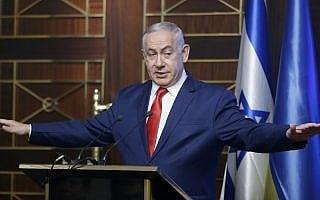 בנימין נתניהו עף על עצמו בקייב (צילום: AP Photo/Efrem Lukatsky)