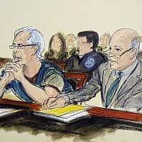 ג'פרי אפשטיין (משמאל) לצד עורך דינו באיור של דיון בבית המשפט הפדרלי של ניו יורק בעניינו (צילום: Elizabeth Williams, AP)