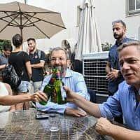 ראשי המחנה הדמוקרטי: ניצן הורוביץ, אהוד ברק, סתיו שפיר (צילום: פלאש 90)