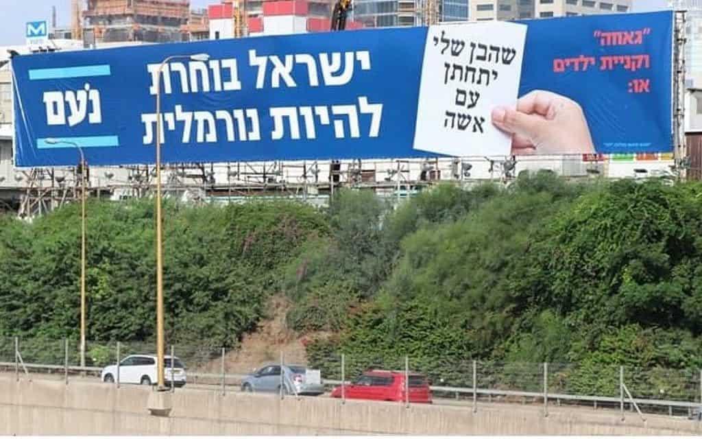 שלטי חוצות של מפלגת נעם בנתיבי איילון (צילום: אמיר בן-דוד)