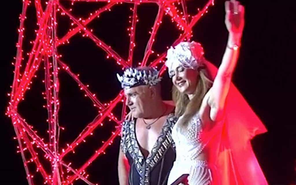 עידן עופר ורעייתו (צילום: צילום מסך, Mykonos Live TV)