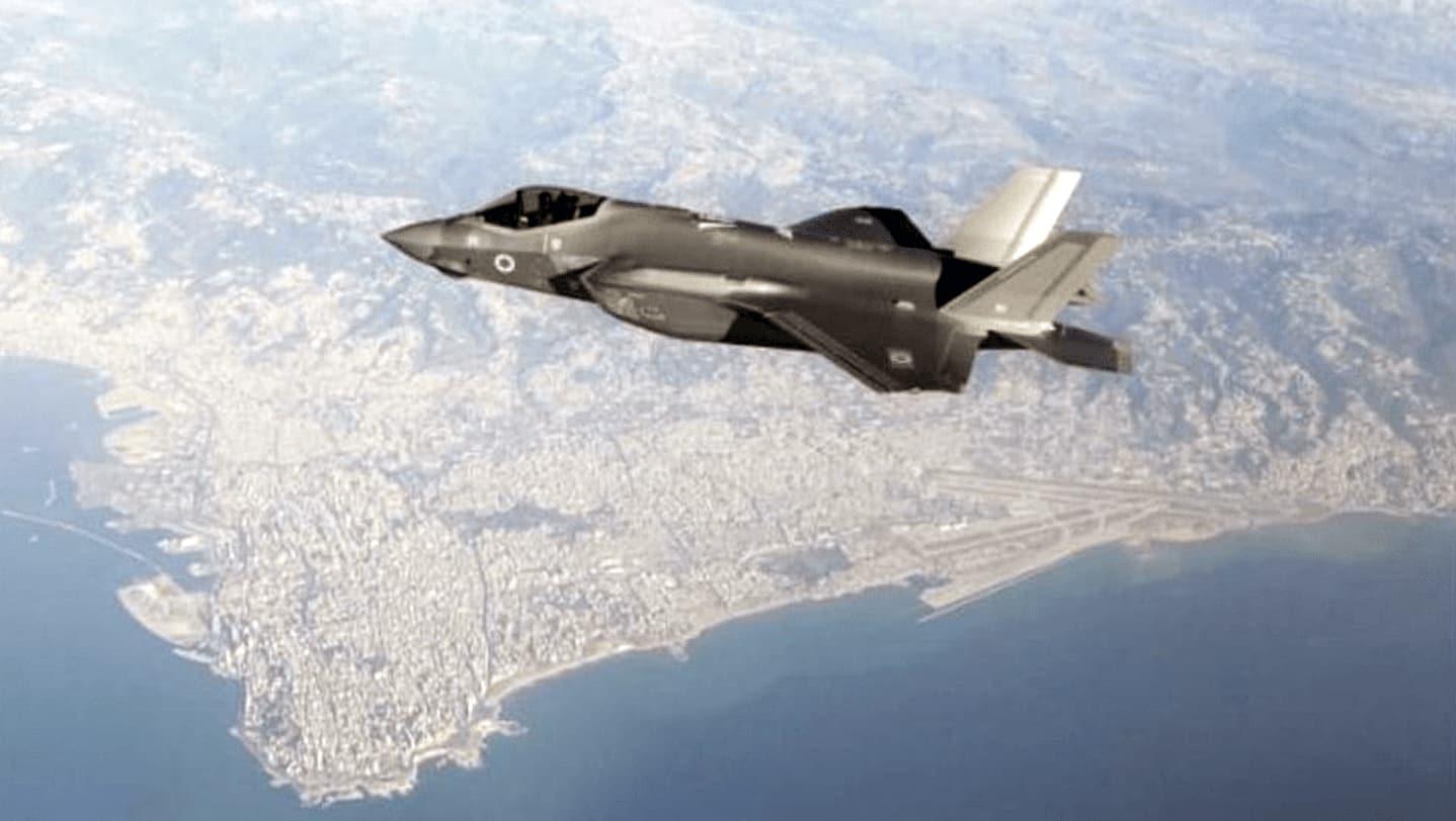 מטוס F-35 של חיל האויר מעל שמי ביירות (צילום: צילום מסך)