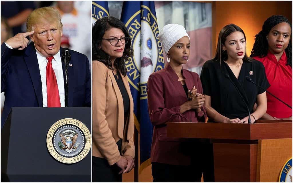 ״היחידה״ – ארבעת חברות הקונגרס הצעירות – ונשיא ארה״ב דונלד טראמפ (צילום: AP Photo/J. Scott Applewhite & Gerry Broome)