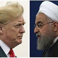 """תמונת קומבינציה של נשיא ארה""""ב דונלד טראמפ ונשיא איראן חסאן רוחני (צילום: AP)"""
