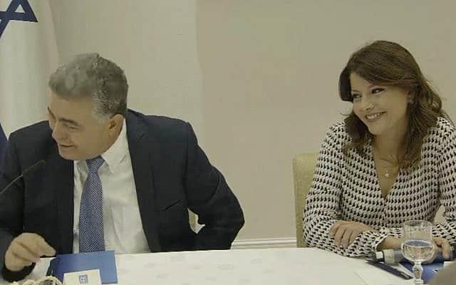 אורלי לוי-אבקסיס ועמיר פרץ אצל הנשיא (צילום: צילום מסך)