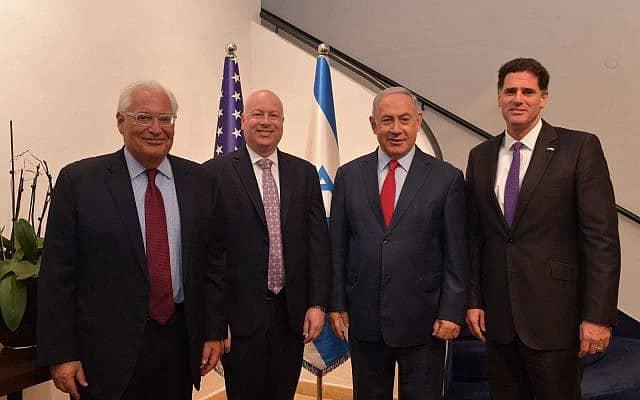 """מימין: דרמר, נתניהו, גרינבלט ופרידמן בפגישתם היום. לפחות שניים בתמונה מסיימים את תפקידם בקרוב (צילום: קובי גדעון / לע""""מ)"""